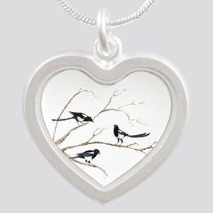 Watercolor Magpie Bird Family Necklaces