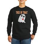 Trick or Treat Ghost Long Sleeve Dark T-Shirt