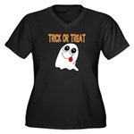 Trick or Treat Ghost Women's Plus Size V-Neck Dar