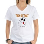 Trick or Treat Ghost Women's V-Neck T-Shirt