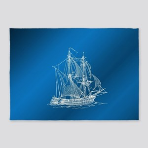 ship in blue 5'x7'Area Rug