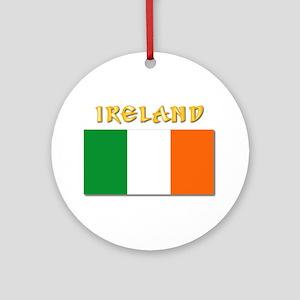 Flag of Ireland w Txt Round Ornament