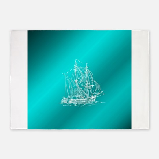 white ship in mint 5'x7'Area Rug