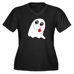 Ghost Women's Plus Size V-Neck Dark T-Shirt