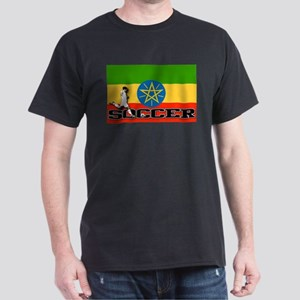 Ethiopia Flag Soccer Dark T-Shirt