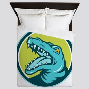 Angry Alligator Head Snout Circle Retro Queen Duve