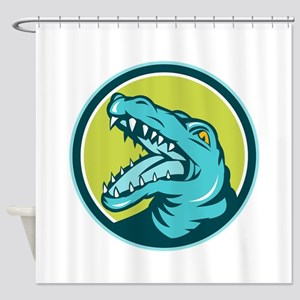 Angry Alligator Head Snout Circle Retro Shower Cur