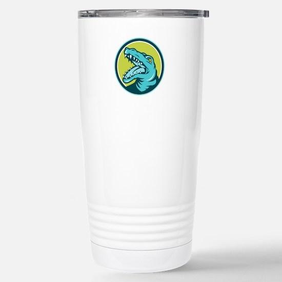 Angry Alligator Head Snout Circle Retro Travel Mug