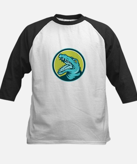 Angry Alligator Head Snout Circle Retro Baseball J