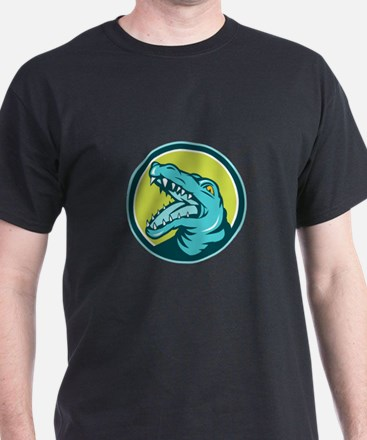 Angry Alligator Head Snout Circle Retro T-Shirt