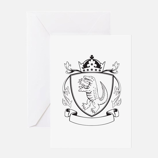 Alligator Standing Coat of Arms Black and White Gr