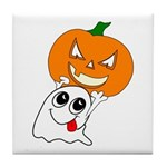 Ghost Jack-O-Lantern Tile Coaster
