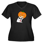 Ghost Jack-O-Lantern Women's Plus Size V-Neck Dar