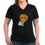 Ghost Jack-O-Lantern Women's V-Neck Dark T-Shirt