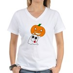 Ghost Jack-O-Lantern Women's V-Neck T-Shirt