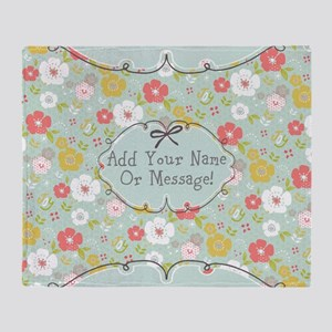 PERSONALIZED Cute Floral Joy Throw Blanket