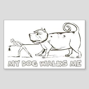 Funny Dog Walker Rectangle Sticker