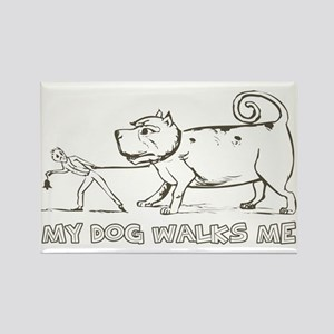 Funny Dog Walker Rectangle Magnet