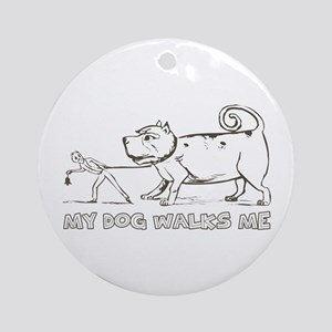 Funny Dog Walker Ornament (Round)