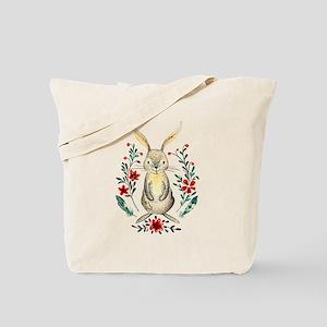 Cute Beige Rabbit in the Meadow Tote Bag