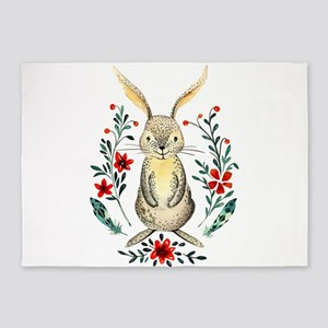 Cute Beige Rabbit in the Meadow 5'x7'Area Rug