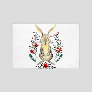 Cute Beige Rabbit in the Meadow 4' x 6' Rug