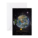 Hiker's Soul Compass Space Greeting Cards