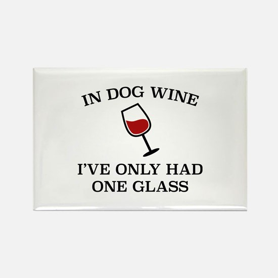 In Dog Wine Rectangle Magnet