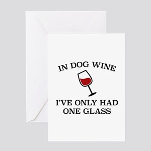 In Dog Wine Greeting Card