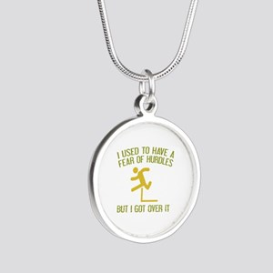 Fear Of Hurdles Silver Round Necklace