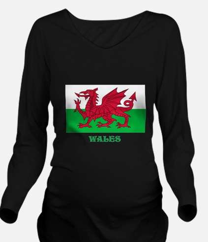 Flag of Wales Long Sleeve Maternity T-Shirt