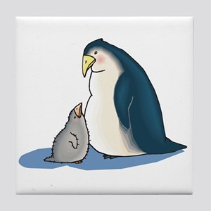 Mommy/Daddy & Baby Penguin Tile Coaster