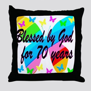 70TH BLESSING Throw Pillow