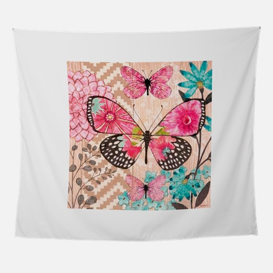 ASIAN BUTTERFLY AND FLOWERS Wall Tapestry