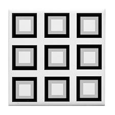 Tri-Colored Squares Tile Coaster