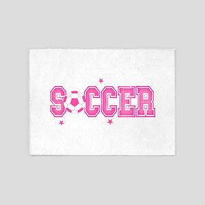 Pink Soccer Girls' 5'x7'Area Rug