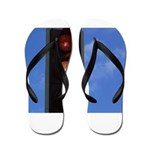 Red and amber traffic light Flip Flops