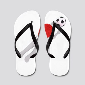 soccer santa claus Flip Flops
