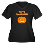 Halloween Pumpkin Women's Plus Size V-Neck Dark T