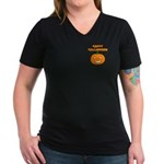 Halloween Pumpkin Women's V-Neck Dark T-Shirt
