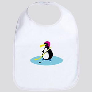 Cute Hockey Playing Penguin Bib