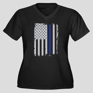 Thin Blue Line Flag Plus Size T-Shirt
