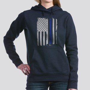 Thin Blue Line Flag Women's Hooded Sweatshirt
