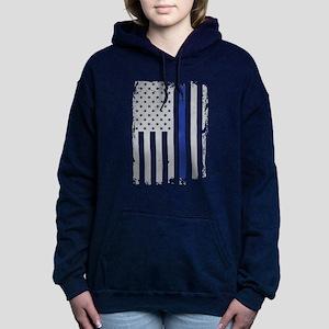 Thin Blue Line Flag Women's Hooded Sweatshirt