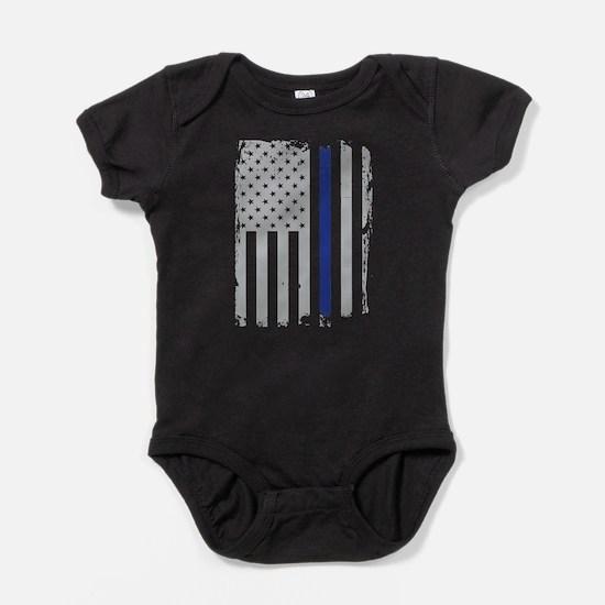 Thin Blue Line Flag Baby Bodysuit