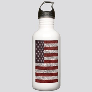 Old leather American flag Water Bottle