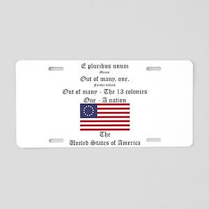 E Pluribus Unum Aluminum License Plate