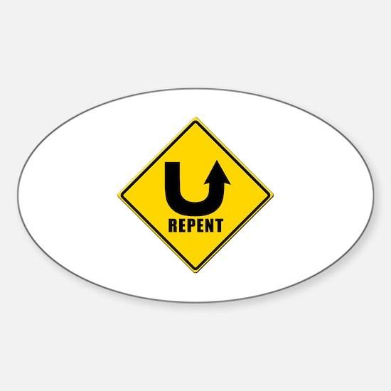 Cute Repent Sticker (Oval)