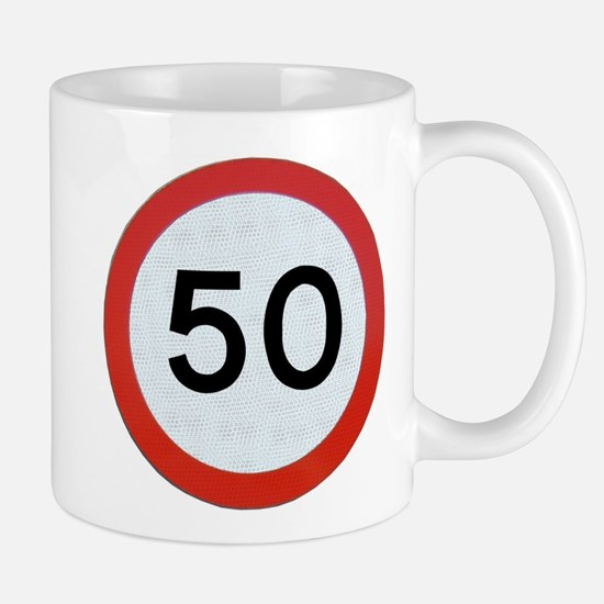 Speed sign 50 Mugs