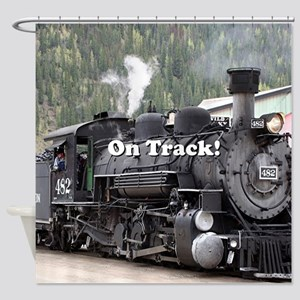 On Track: Steam train engine, Color Shower Curtain